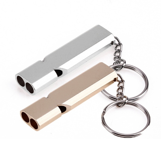1Pc Camping Hiking Survival Keychains Double Pipe High Decibel Whistle